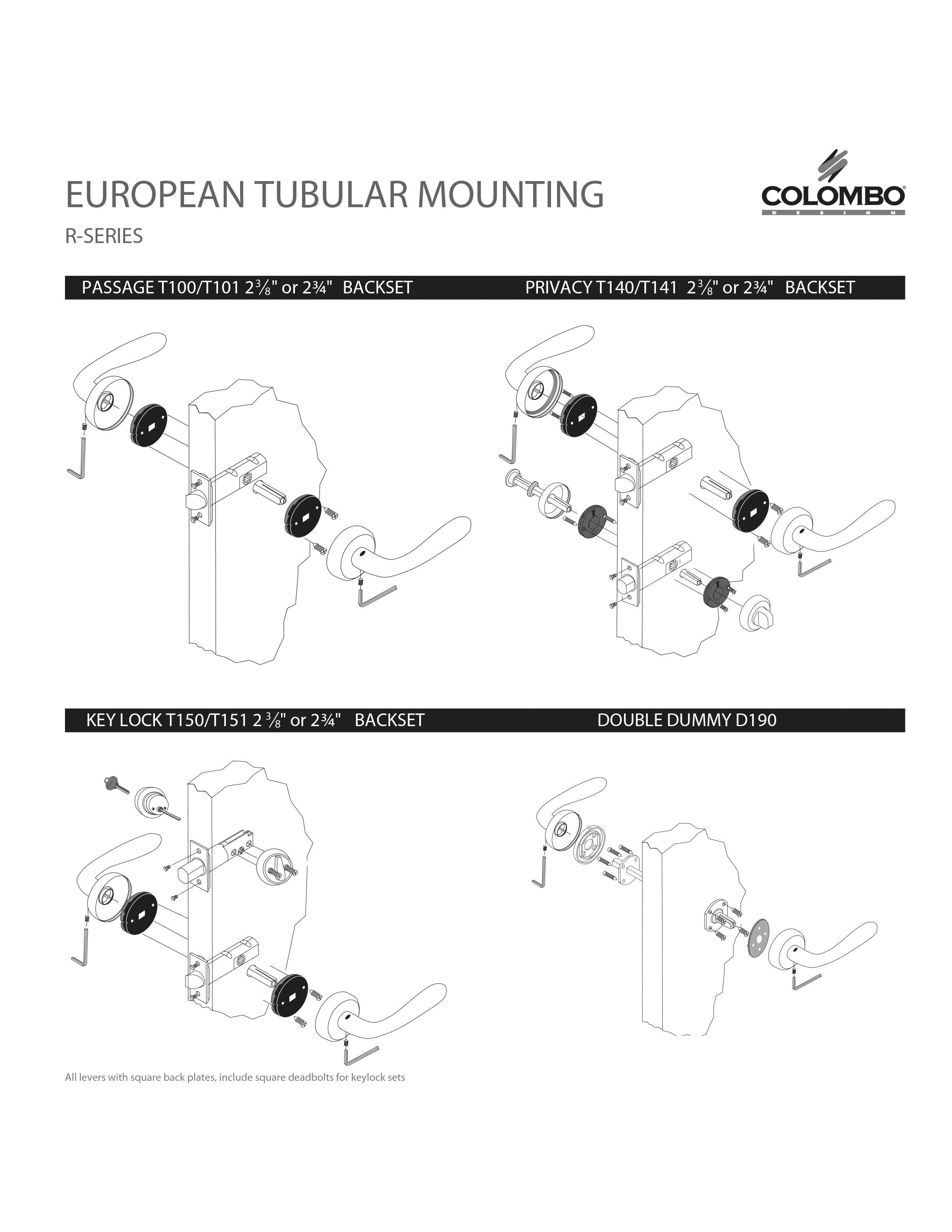 Mounting Drawings for European Tubular Sets
