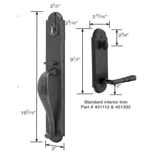 Emtek Greeley Tubular Entry Set Sandcast diagram