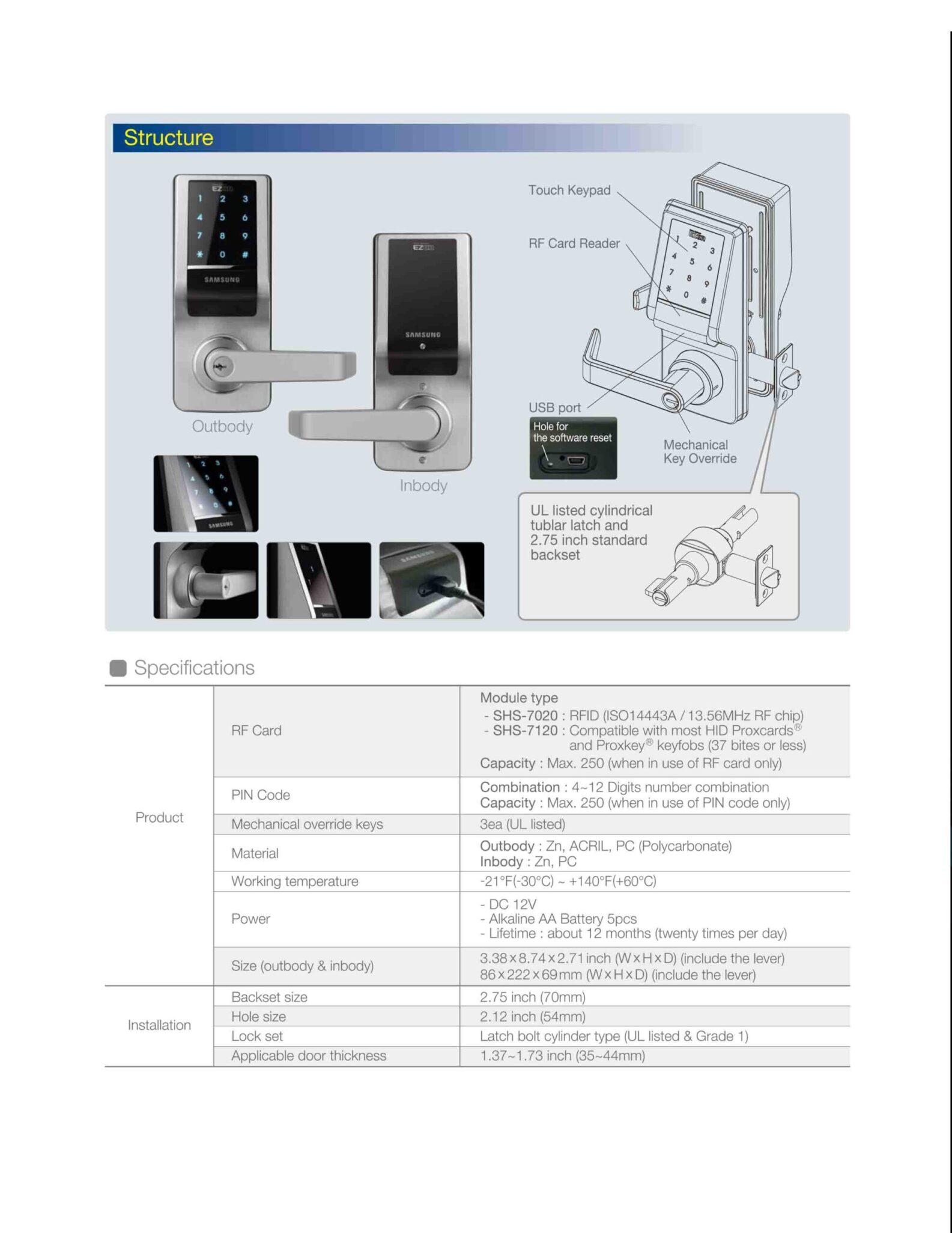 Samsung Card Access Control Electronic Lock SHS-7020