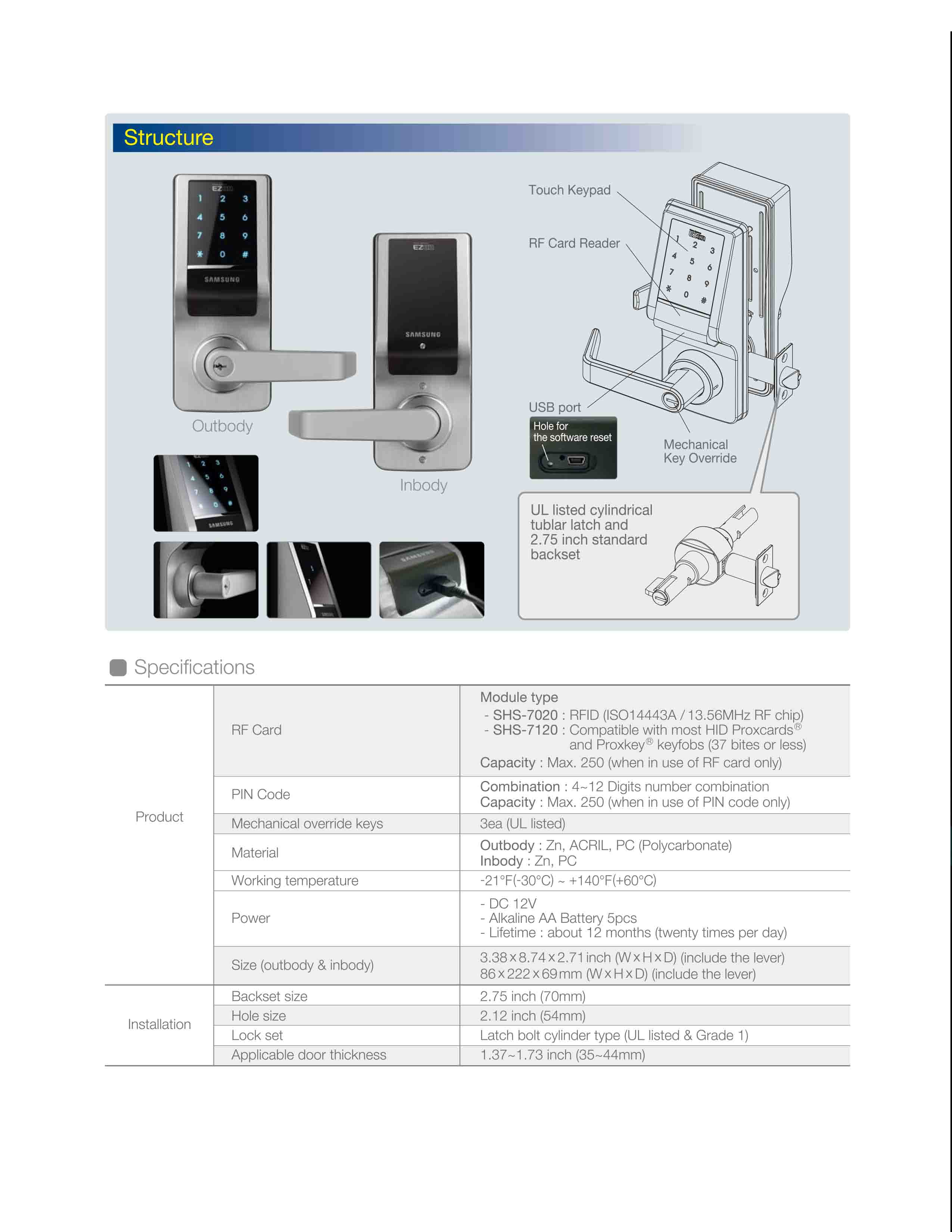 Samsung Card Access Control Electronic Lock SHS-7020