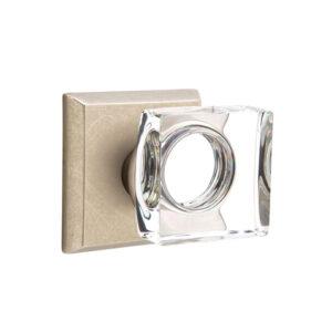 Emtek Modern Square Knob Crystal Sandcast Bronze