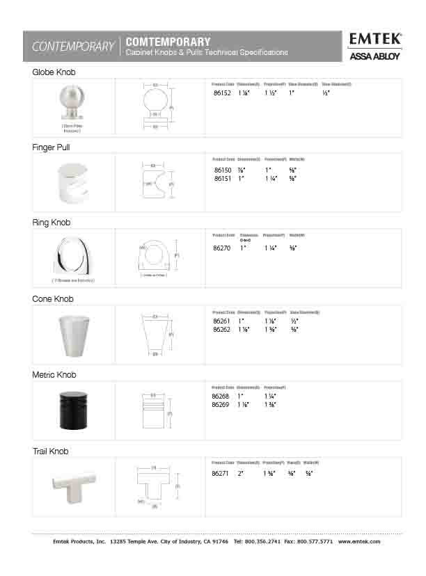 Emtek Globe Knob Contemporary Cabinet Hardware