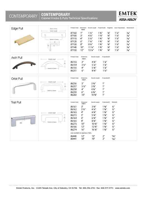 Emtek Trail Pull Contemporary Cabinet Hardware