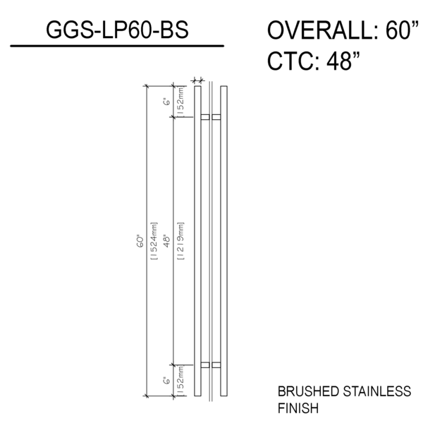 60″ Ladder Pull Back To Back Brushed Stainless