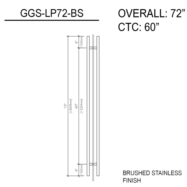 72″ Ladder Pull Back To Back Brushed Stainless